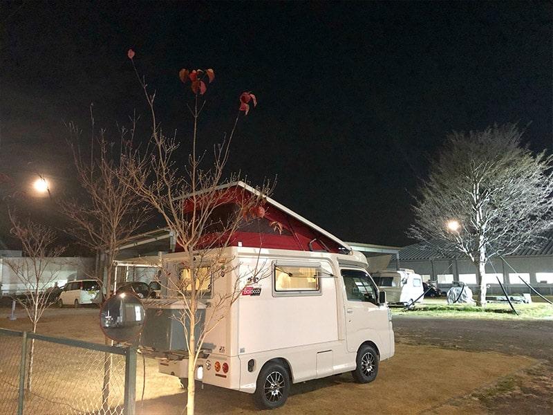 群馬県渋川市にある「RVパーク伊香保」、今回の軽キャン旅宿泊地