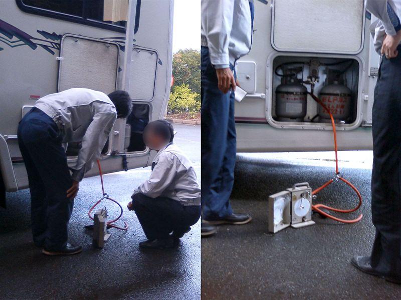 キャンピングカーで使用しているガスボンベにLPガスを充填